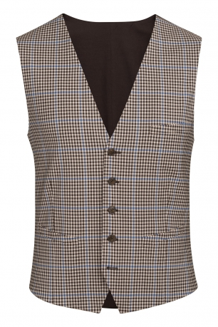 With buttons Beige Check Waistcoat