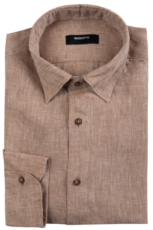 Slim body Beige Plain Shirt