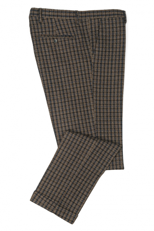 Slim Brown Check Trouser