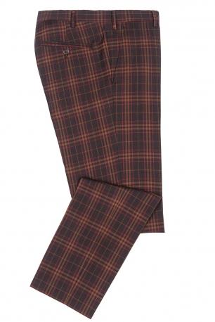 Slim Burgundy Check Trouser