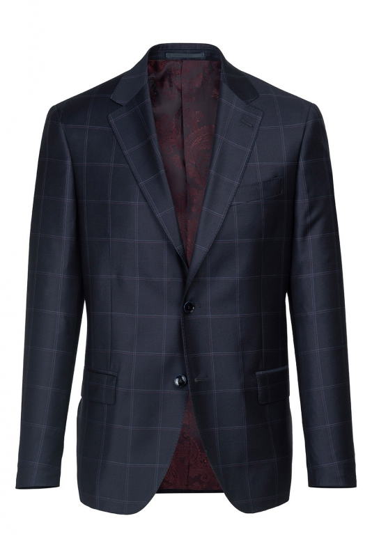Slim Navy Check Blazer