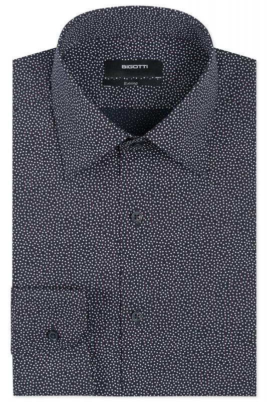 Slim Navy Geometric Shirt