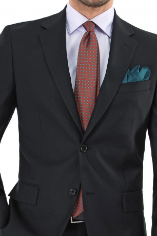 Superslim Black Plain Suit