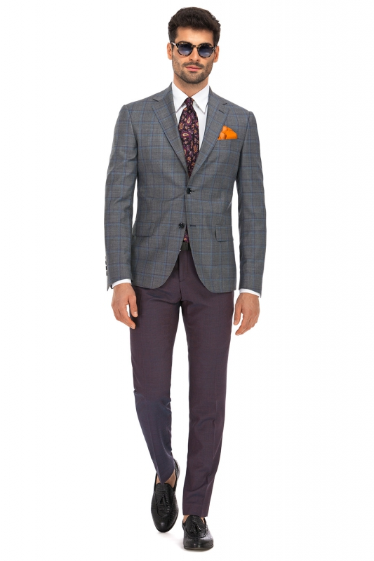 Superslim Purple Plain Trouser