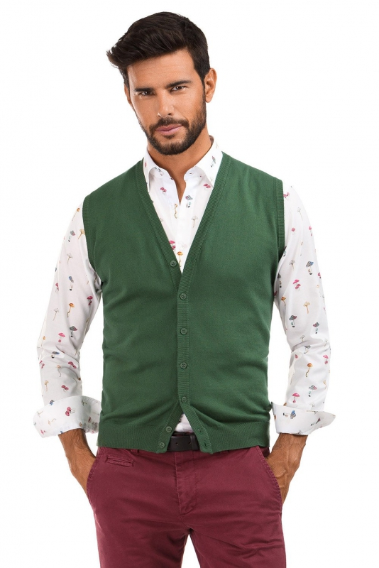 Slim Green Plain Waistcoat