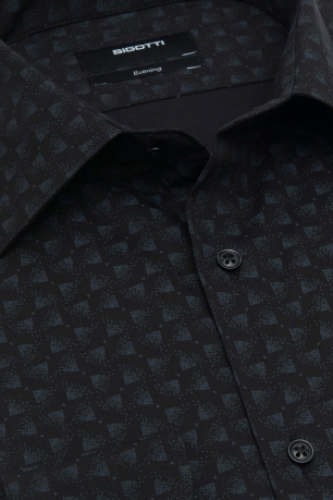 Superslim Black Print Shirt