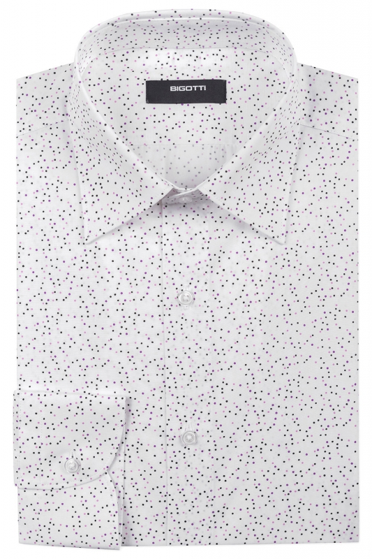 Slim White Geometric Shirt