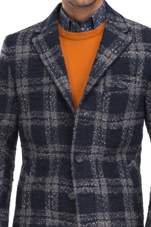 Navy Check Coat