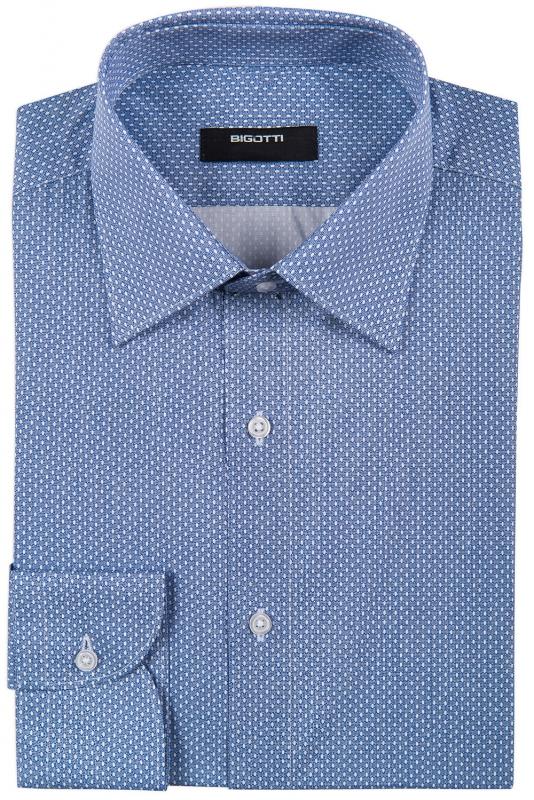 Superslim Albastru Geometric Shirt