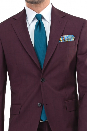 Slim Burgundy Check Suit