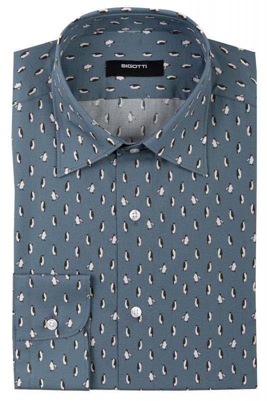 Slim Grey Geometric Shirt