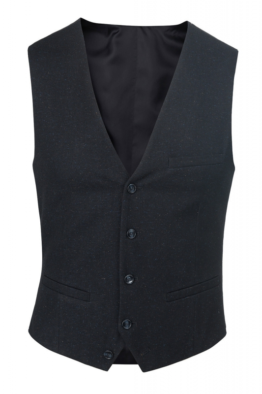 With buttons Navy Plain Waistcoat