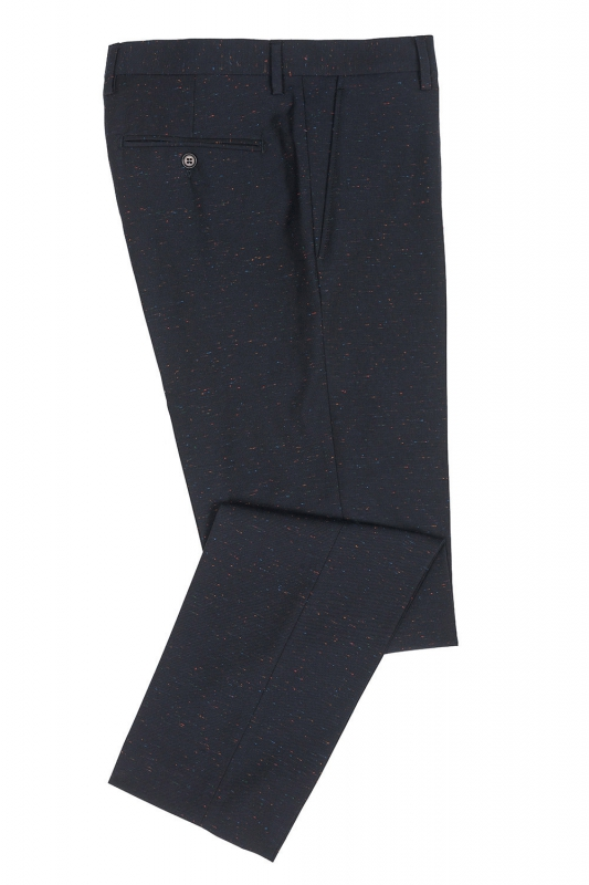 Slim Navy Geometric Trouser