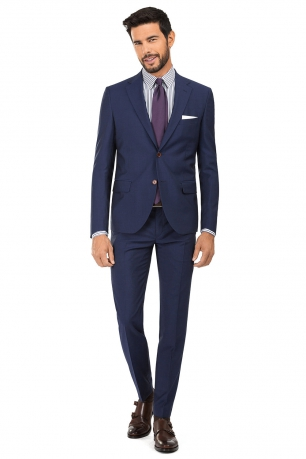 Slim Blue Plain Suit