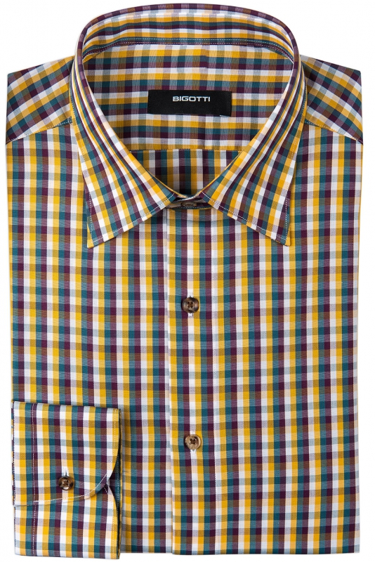 Slim White Check Shirt