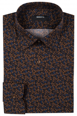 Slim Navy Floral Shirt