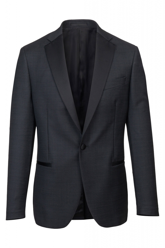 Slim Black Geometric Blazer