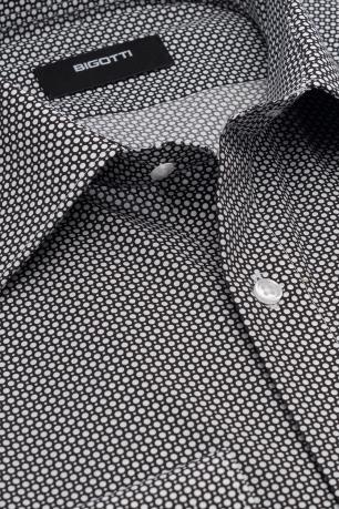 Slim body Black Geometric Shirt