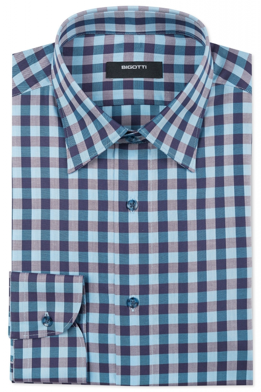 Slim Light blue Check Shirt