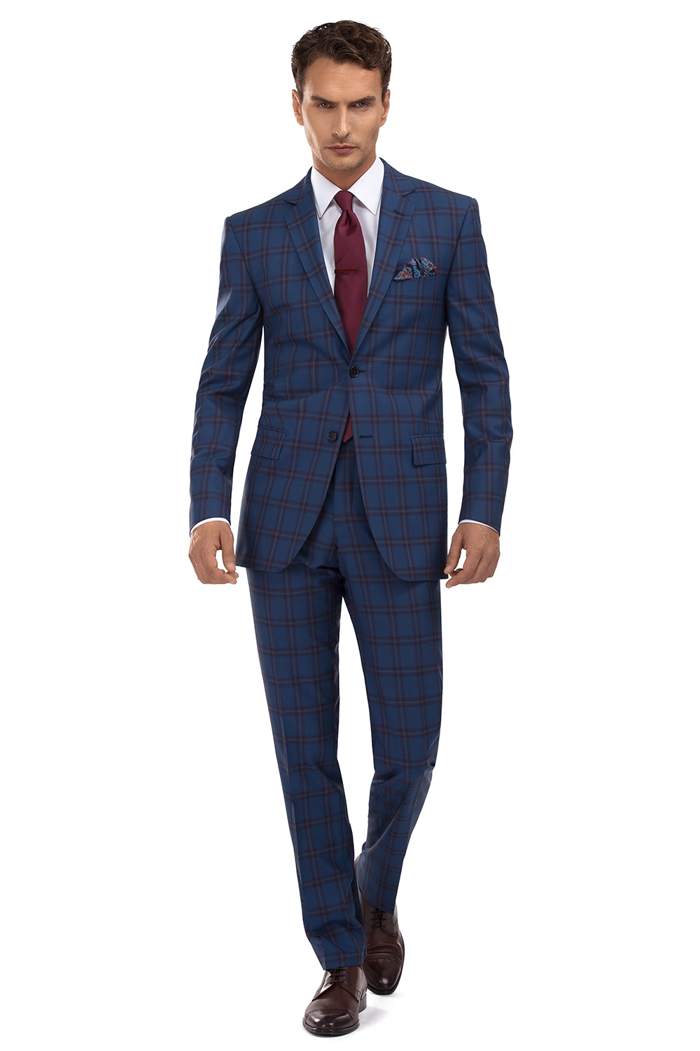 Slim Blue Check Suit 0